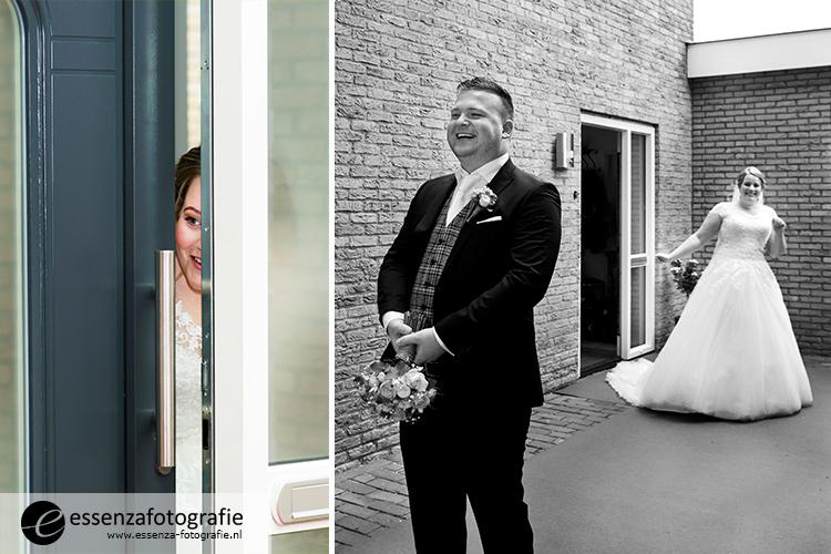 Ontmoeting bruidspaar buiten