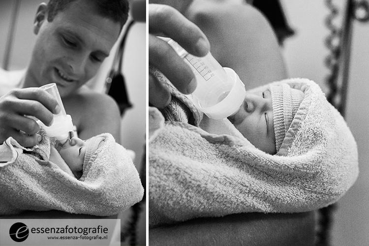 eerste flesje baby
